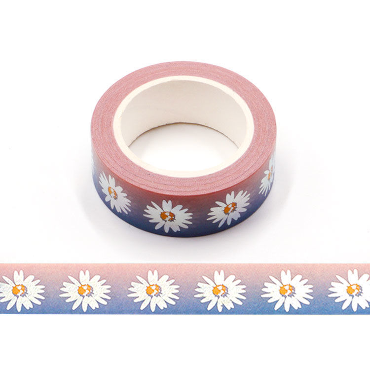 15mm x 10m Silver Holographic Foil Daisy Washi Tape