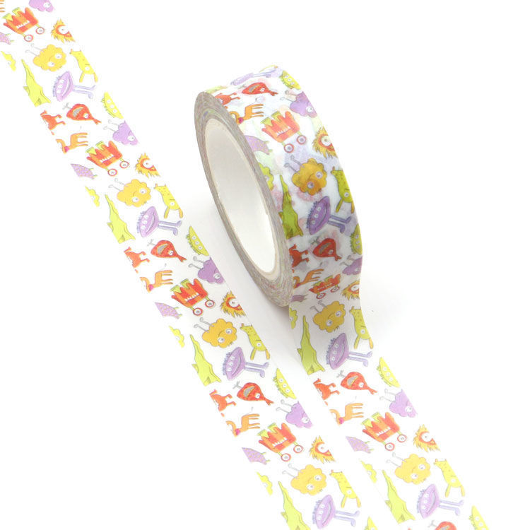 15mm x 10m CMYK Monster Cartoon Washi Tape
