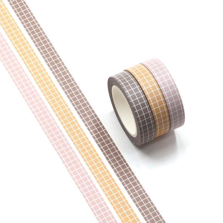 10m x 3Rolls Grid Pattern Washi Tape