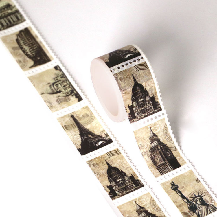 25mm x 3m Tourism Architecture Design Vintage Stamps Washi Tape
