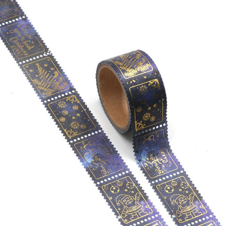 25mm x 3.5m Santa Claus Gold Foil Stamp Washi Tape