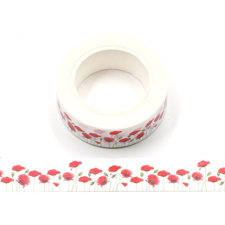 15mm x 10m CMYK Red Rose Washi Tape