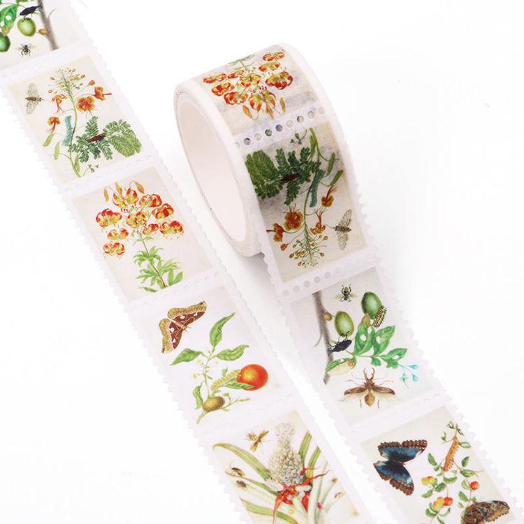 25mm x 3m Plant Specimens Design Stamp Washi Tape