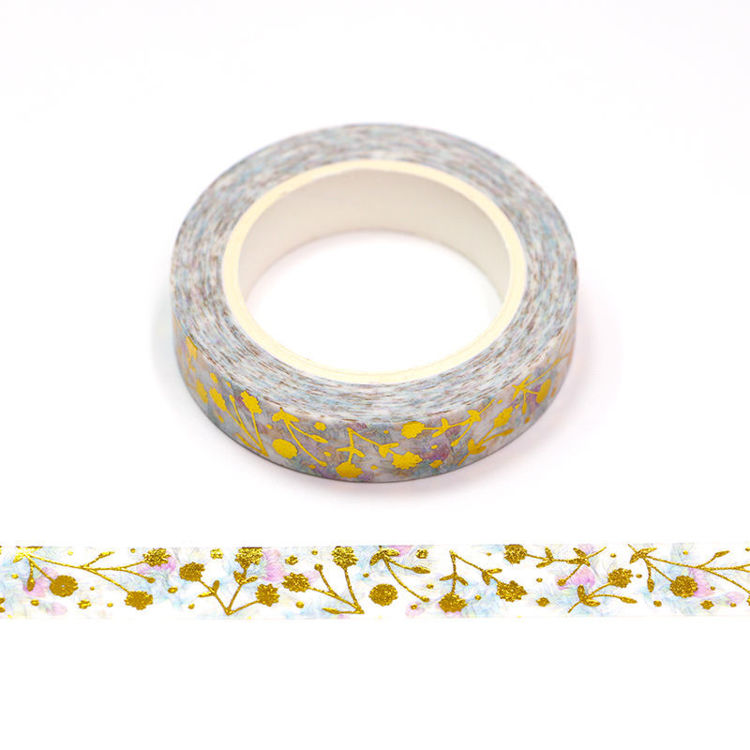 10mm x 10m CMYK Gold Foil Flower Washi Tape