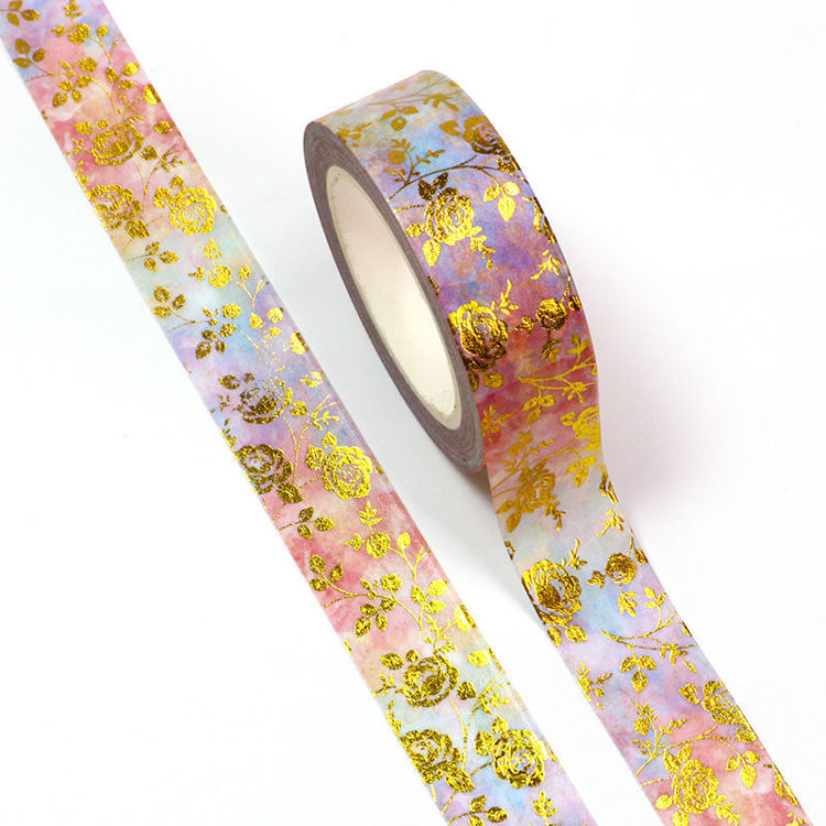 15mm x 10m CMYK Gold Foil Watercolor Roses Washi Tape