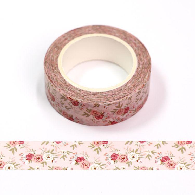 15mm x 10m CMYK Pink Flower Washi Tape