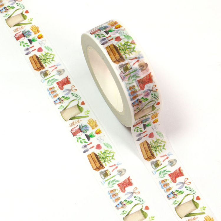 15mm x 10m CMYK Watercolor Garden Tools Washi Tape