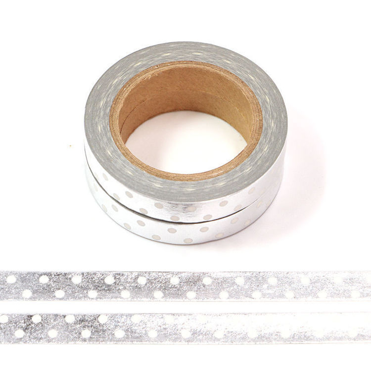 8mm x 10m 2Rolls Silver Point Washi Tape