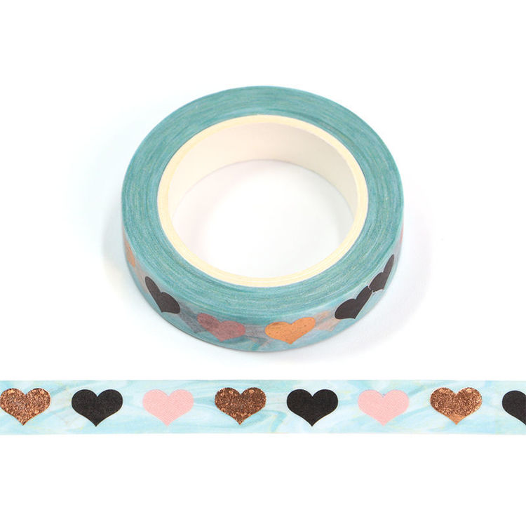 10mm x 10m Gold Foil CMYK Loving Heart Washi Tape