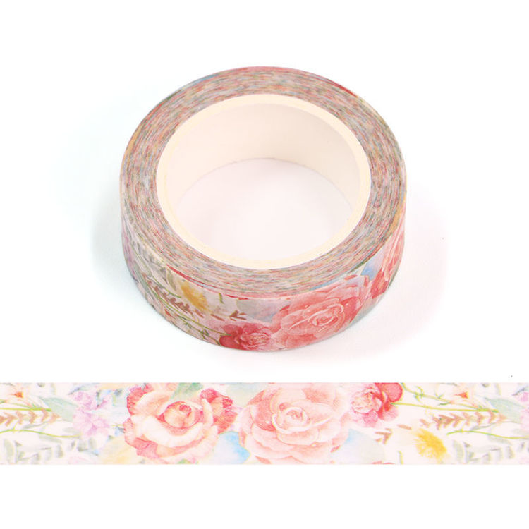 15mm x 10m CMYK Hand Painted Roses Washi Tape