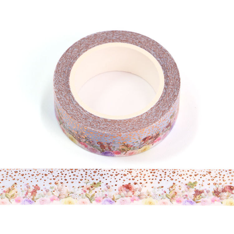 15mm x 10m Gold Foil CMYK Colored Roses Washi Tape