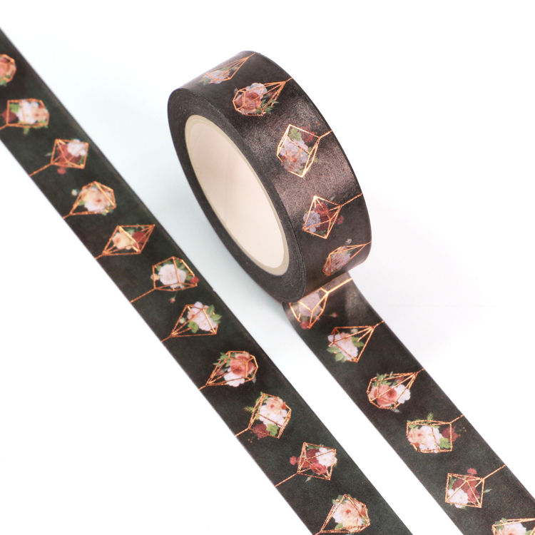15mm x 10m Gold Foil CMYK Flower Hanging Basket Washi Tape