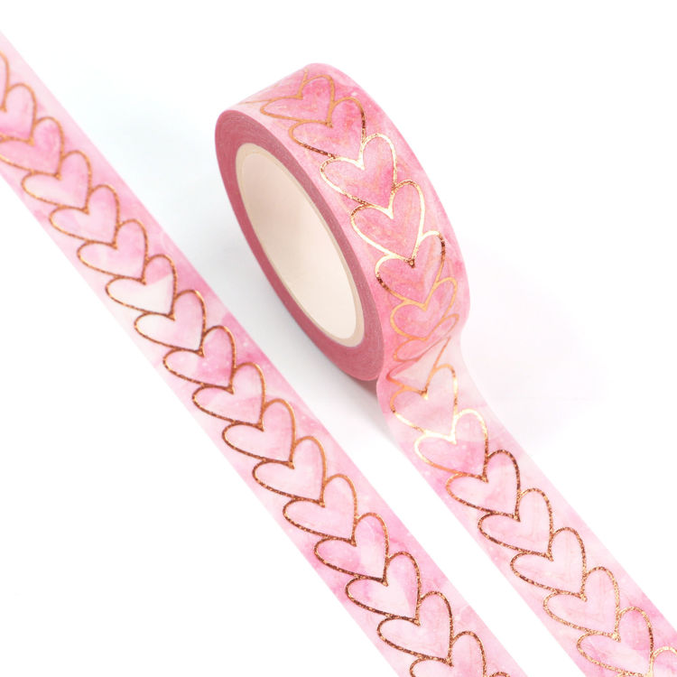 15mm x 10m Gold Foil CMYK Heart To Heart Washi Tape