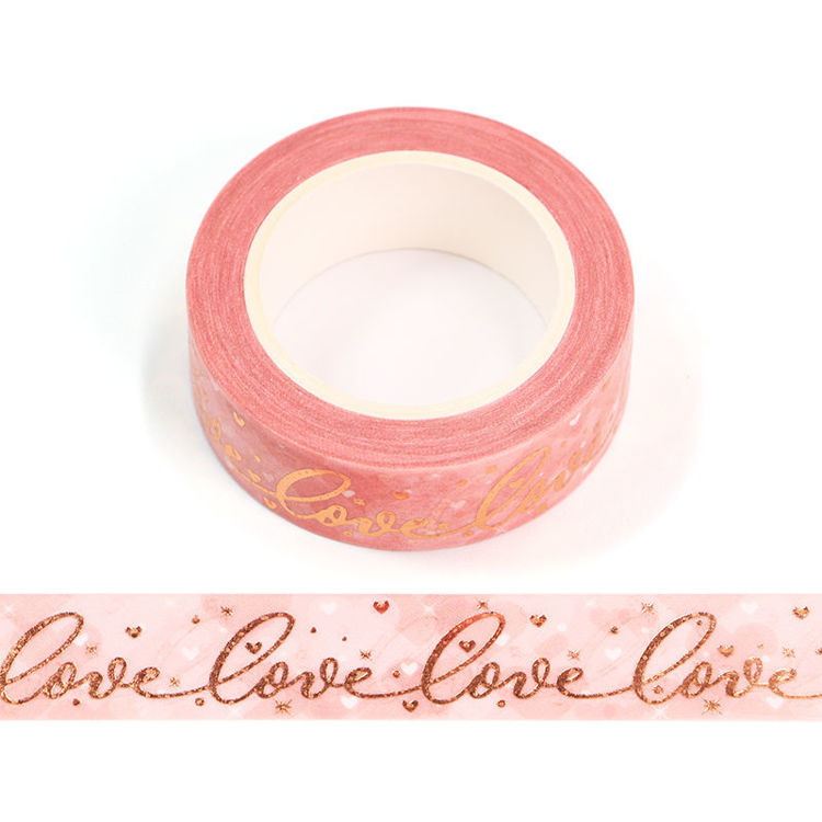 15mm x 10m Gold Foil CMYK Love Washi Tape