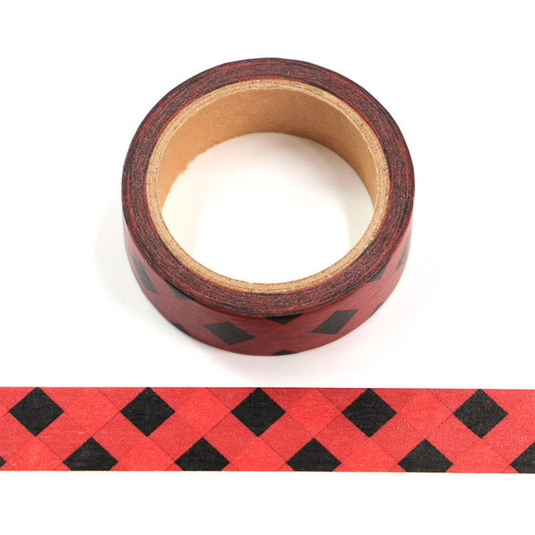 16mm x 9.1m PMS Red Base Black Squares Washi Tape