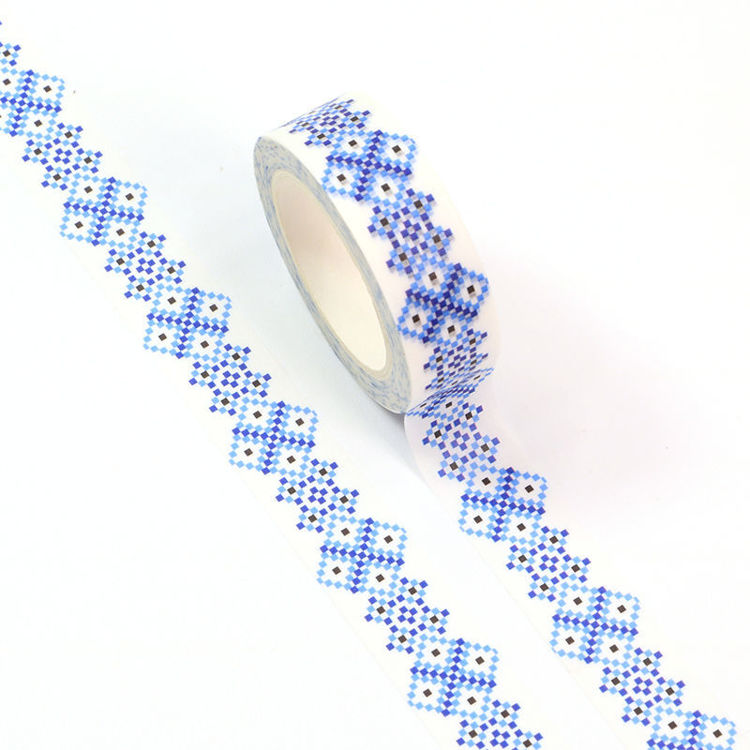 15mm x 10m CMYK Blue Mosaic Washi Tape