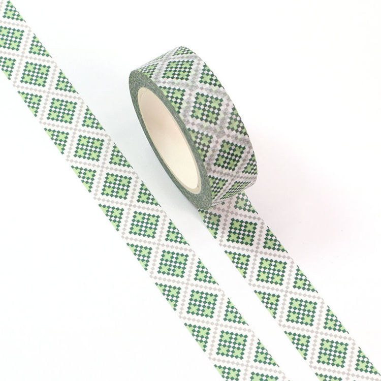 15mm x 10m CMYK Green Mosaic Washi Tape