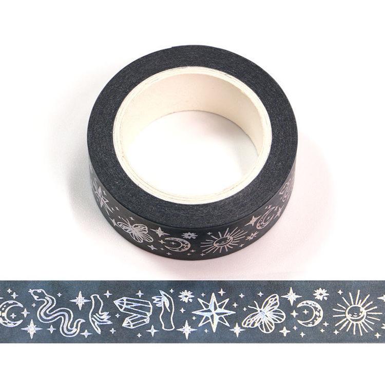 15mm x 10m Silver Holographic Foil CMYK Divination Washi Tape