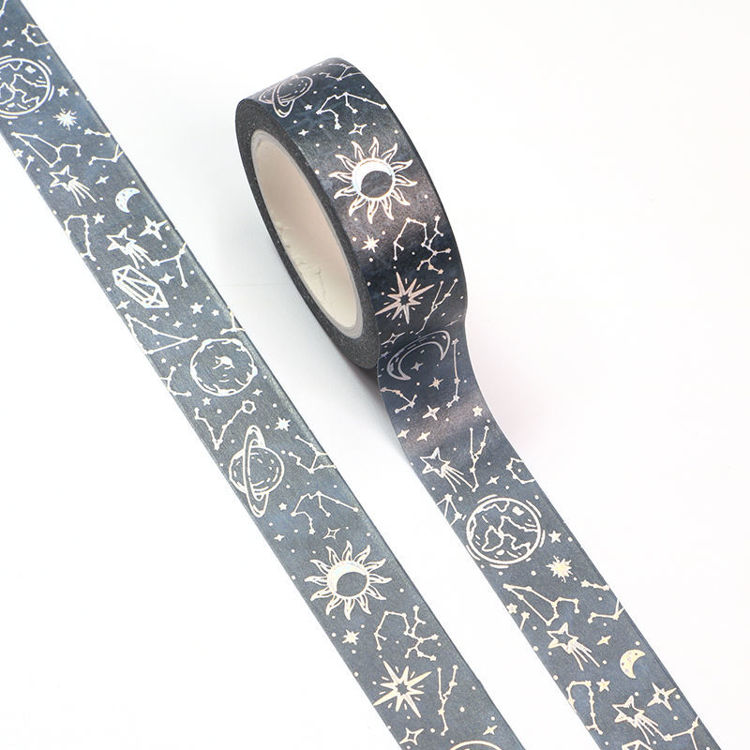 15mm x 10m Silver Holographic Foil CMYK Starry Sky Washi Tape