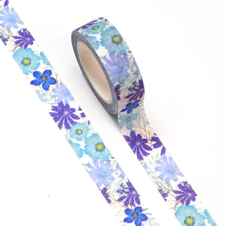 15mm x 5m CMYK+Laminated Blue Flower Washi Tape