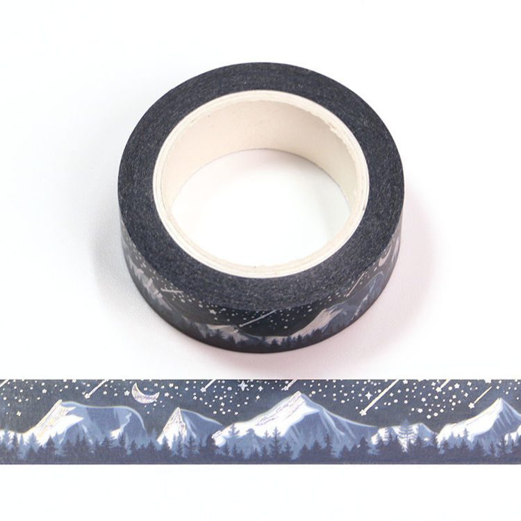 15mm x 10m Silver Holographic Foil CMYK Songshan Snow Forest Washi Tape