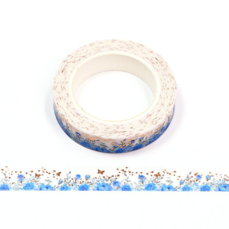 10mm x 10m Gold Foil CMYK Blue Rose Washi Tape
