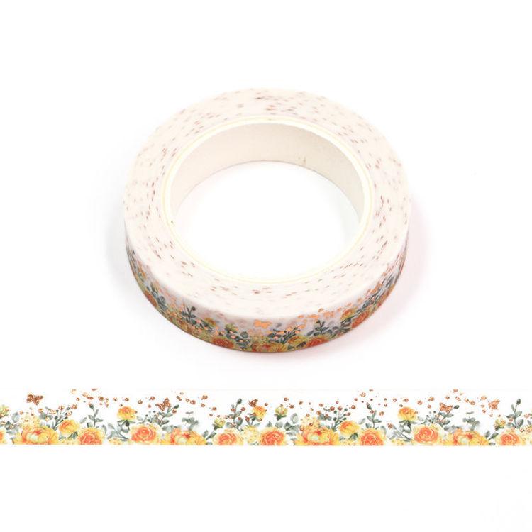 10mm x 10m Gold Foil CMYK Yellow Rose Washi Tape