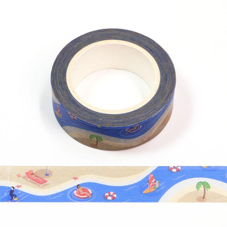 15mm x 10m CMYK Beach On Vacation Washi Tape
