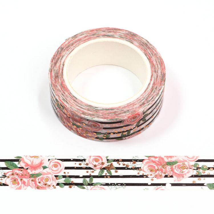 15mm x 10m Gold Foil CMYK Roses Washi Tape