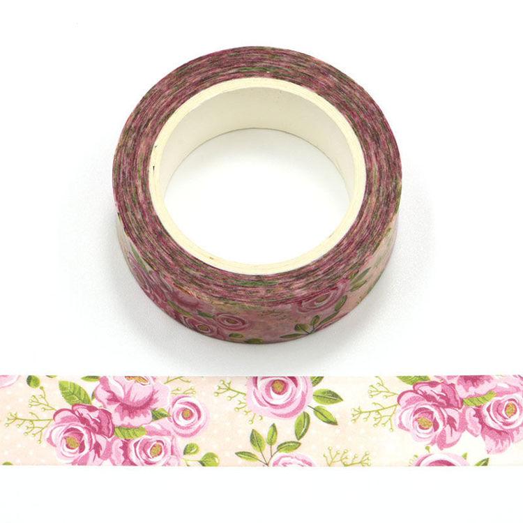 15mm x 10m CMYK Pink Rose Washi Tape
