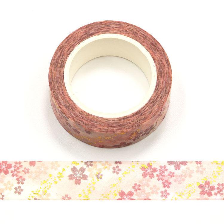 15mm x 10m Gold Foil CMYK Romantic Cherry Blossom Washi Tape