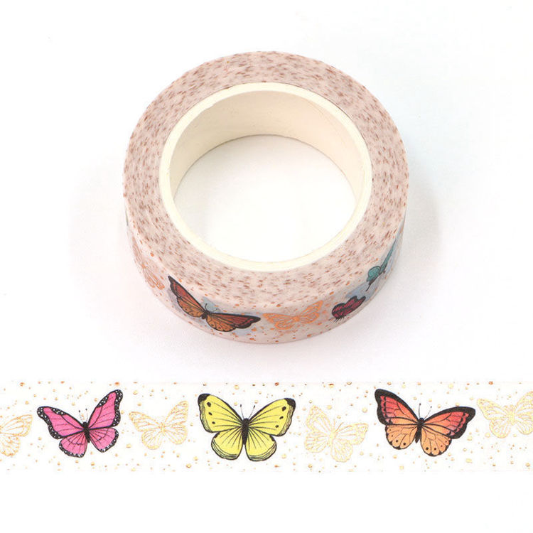 15mm x 10m Gold Foil CMYK Colorful Butterfly Washi Tape