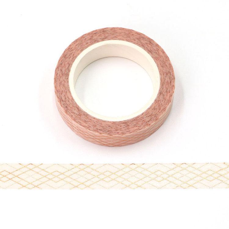 10mm x 10m Gold Foil CMYK Grid Lines Washi Tape