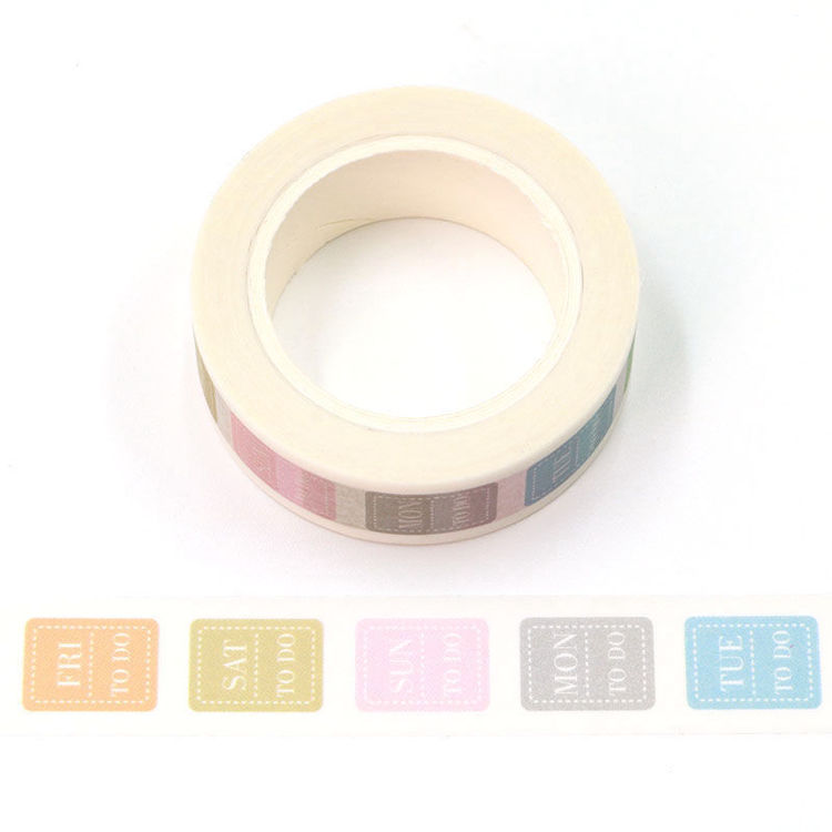15mm x 10m CMYK Week Note Label Washi Tape