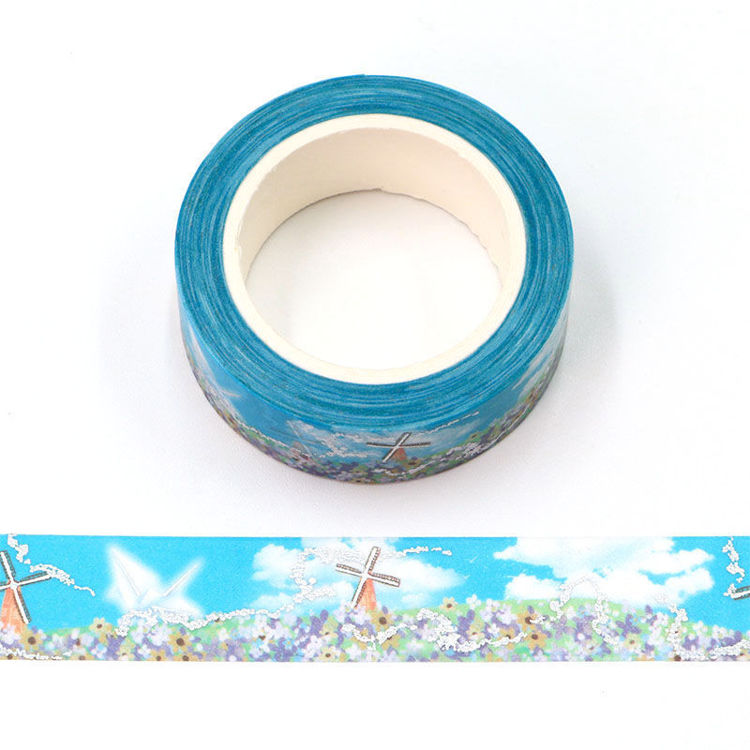 15mm x 10m Silver Holographic Foil CMYK Flowers and Windmills Washi Tape