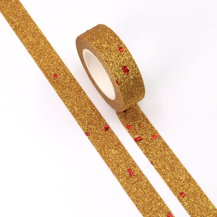 15mm x 5m  Golden Red spots Sparkle Washi Tape