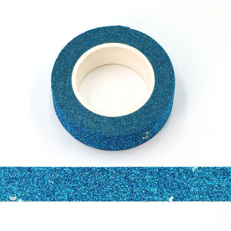 15mm x 5m moon Blue Sparkle Washi Tape
