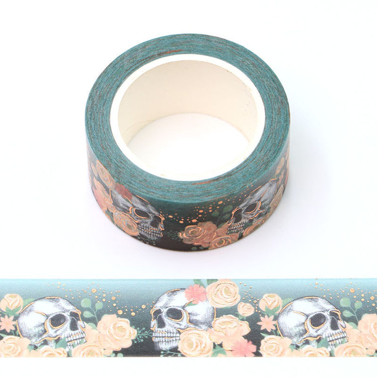 15mm x 10m Gold Foil CMYK Roses and a skull Washi Tape