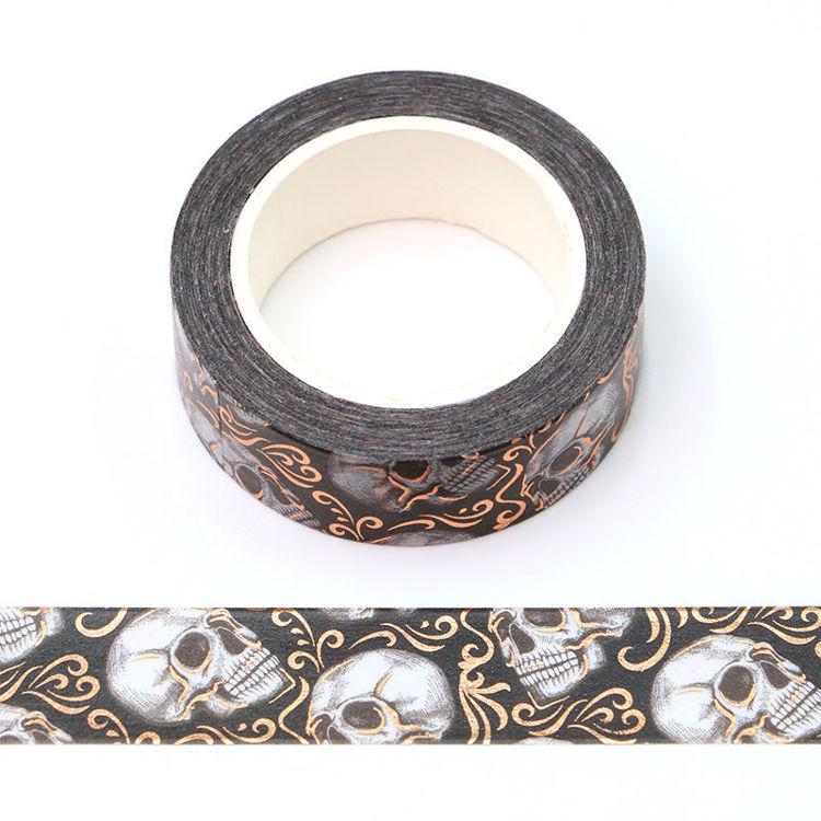 15mm x 10m Gold Foil CMYK skull Washi Tape