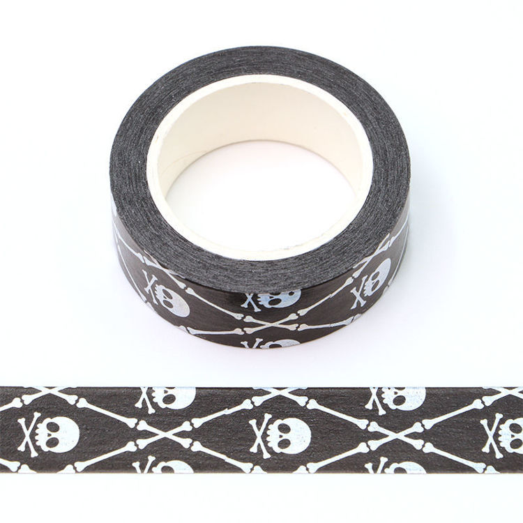 15mm x 10m Silver Holographic Foil CMYK Bone Washi Tape