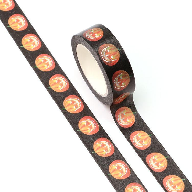 15mm x 10m Silver Holographic Foil CMYK pumpkin Washi Tape