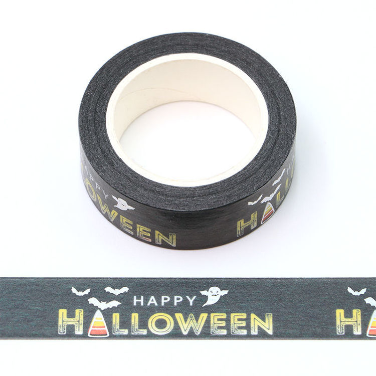 15mm x 10m Silver Holographic Foil CMYK Halloween Washi Tape