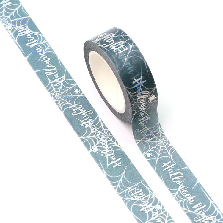 15mm x 10m Silver Holographic Foil CMYK Halloween night Washi Tape