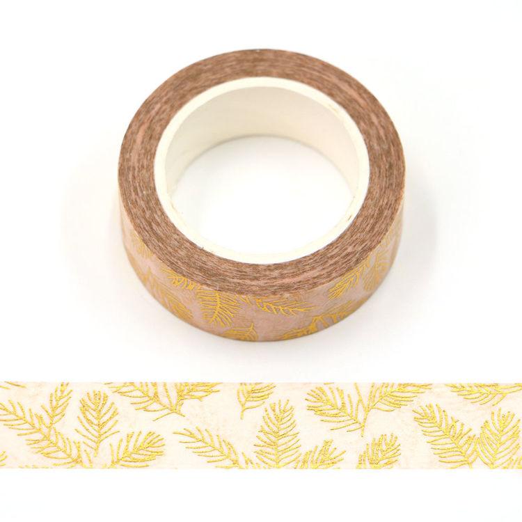 15mm x 10m CMYK Pale Pink Gold Foil Pine Needles Washi Tape