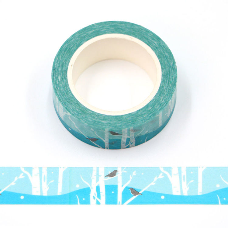 15mm x 10m CMYK Blue Forest and Robin Washi Tape