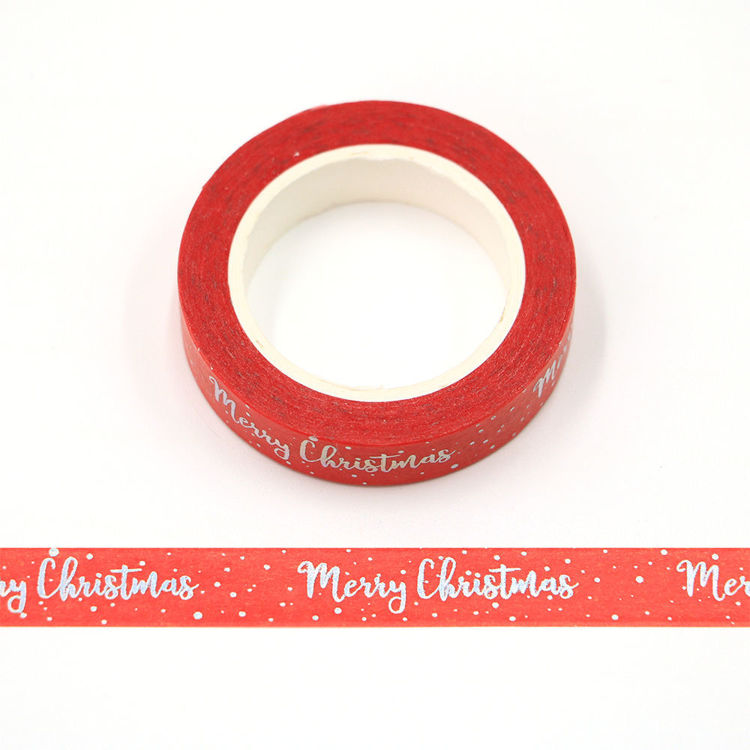 10mm x 10m CMYK Silver Holographic Foil Merry Christmas Washi tape