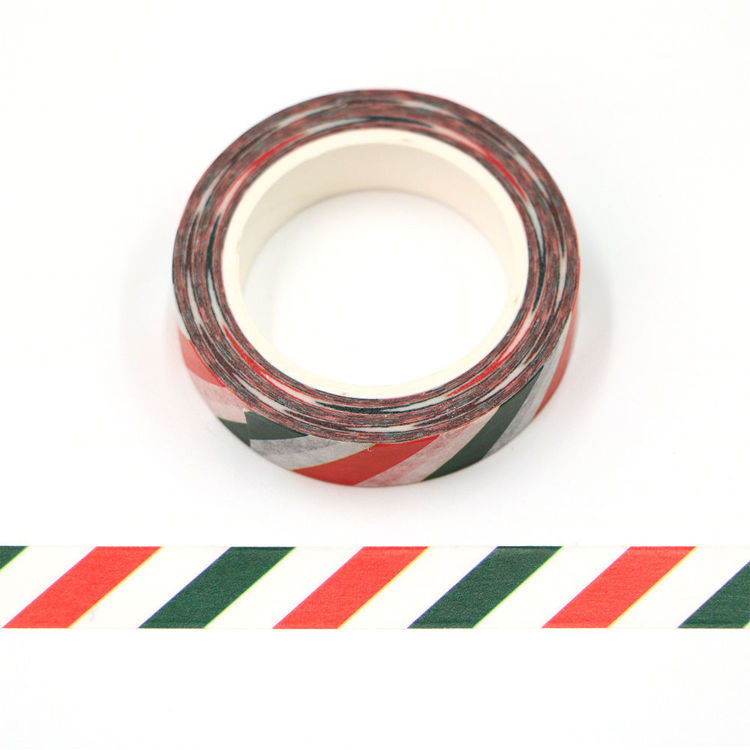 10mm x 10m CMYK red and green diagonal stripes washi tape