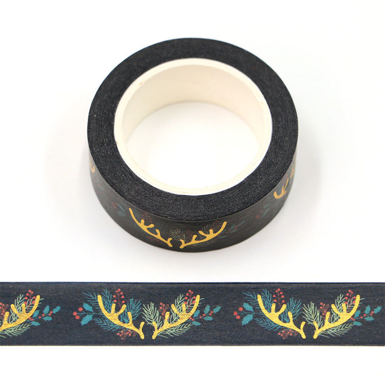 15mm x 10m CMYK Flowers Gold Foil Antlers Washi Tape