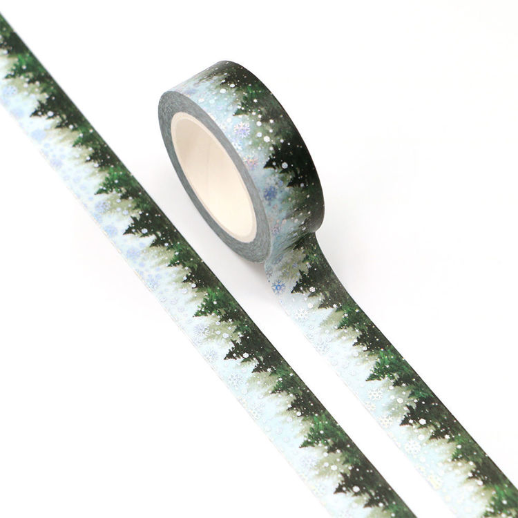15mm x 10m CMYK Green Pines Silver Holographic Foil Snow Washi tape