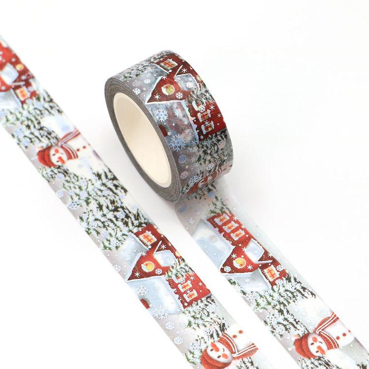 20mm x 10m Silver Holographic Foil CMYK Snowman Washi Tape